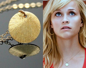 Reese Witherspoon CIRCLE Necklace, Gold Disc Necklace, Celebrity Inspired Necklace.