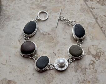 Sterling Silver Beach Stone Bracelet