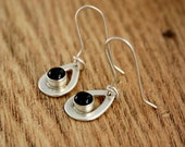 Star Diopside Silver Dangly Earrings, Black Gemstone, Silver Pear Drops, Ready to Ship