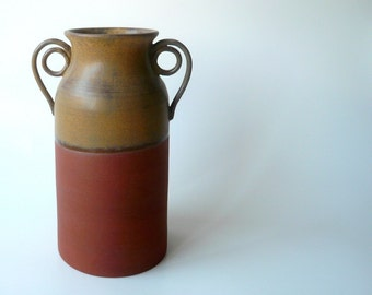 Rustic Ceramic Terracotta Vase with Spiral Handles in Warm Earth Tones by Cecilia Lind, StudioLind