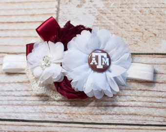 Game Day Craze Collection - Texas A&M Aggies Headband - Maroon and White