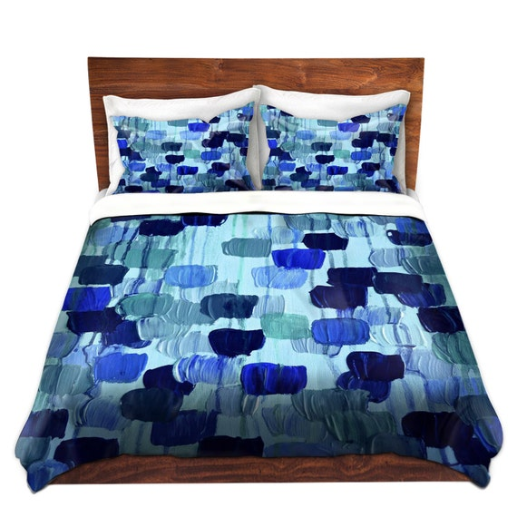 items similar to dotty in blue art polka dots duvet cover queen twin turquoise navy indigo royal. Black Bedroom Furniture Sets. Home Design Ideas