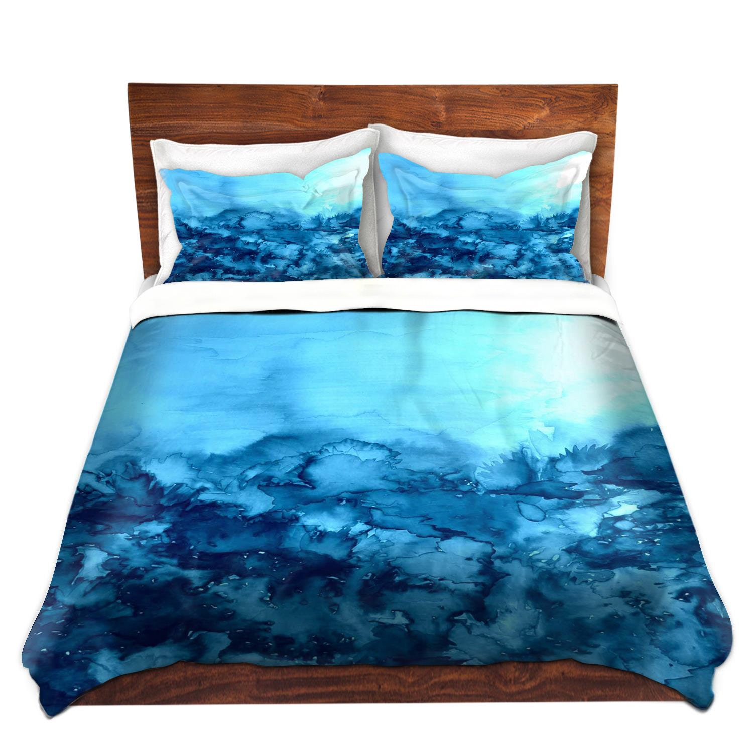 TURQUOISE Blue Fine Art Duvet Covers, King Queen Twin Nature