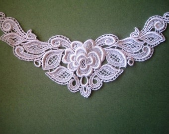 Light Rose Venice Lace Applique, Pink, x 1, For Romantic & Victorian Crafts