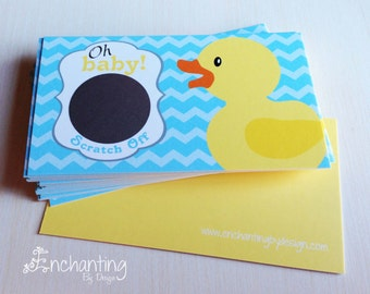 10 Baby Shower Scratch off Game Cards - Yellow Rubber Duck