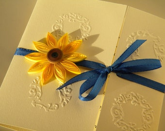 Sunflower and cobalt blue invitation