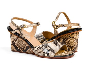 1960s Vintage Shoes: Architectural Python Wedge