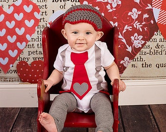 Baby Boy Valentine's Day Outfit, Tie Bodysuit with Heart, Leg Warmers, Crochet Newsboy Hat, Gray and Red, Be Mine, My First Valentine's Day