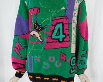 late 80s rare French Ton Sur Ton novelty sweater/ oversized/ varsity  football theme: one size