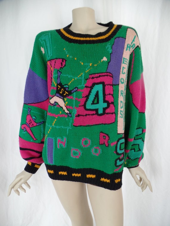 late 80s rare french ton sur ton novelty sweater oversized. Black Bedroom Furniture Sets. Home Design Ideas