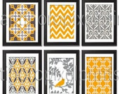 Spring Orange Bird / Grey  Vintage / Modern inspired Art Prints Collection -Set of 6 - 8x10 Prints  - Featured in Orange Grey  (UNFRAMED)