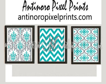 Personalized Damask Wall Art Prints (Ocean Blue Grey) - Set of (3) Prints - Custom Colors Available (UNFRAMED)