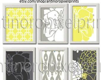 Digital Wall Art Prints Yellow Greys White Wall Art Vintage / Modern Inspired -Set of 6 - 8x10 Prints -  (UNFRAMED)