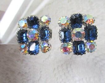 Blue rhinestone and auroa borealis silver toned clip on earrings c1970s