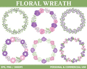 70% OFF SALE Purple & Pink Floral Wreath Clip Art - Flowers, Wedding, Wreath, Leaves, Lily Clip Art