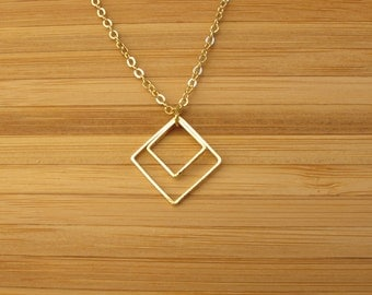 Gold squares necklace.2 squares gold  pendant .Modern classic simple jewelry.