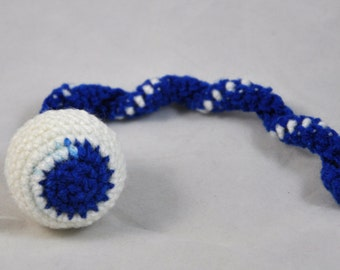 NFL Indianapolis Colts - Crochet Cat Toy - Jingle Ball Snake - Homemade Cat Toy - Unique Cat Toys - Cat Ball - Cat Toys - Crochet Balls - L1