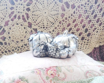 Pretty Silver Double Pumpkin Double Candle Holder  :)SALE Code CLEARINGOUT25 Must Be Used At Check Out/S
