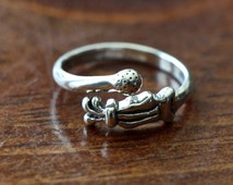 Golfers Adjustable Ring- Sterling Silver- Golfer's Jewelry Gift- Golf Bag- Golf Ball Ring- Women Golfer Gift