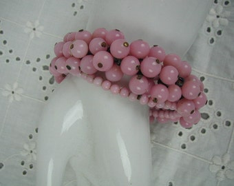 Vintage Pink Milk Glass Bracelet, Memory Wire, 3 Rows of Beads, Adjustable