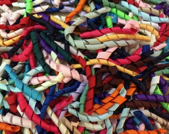 100 Korker Pieces - SOLIDS - Precut, Ends Heat Sealed, Ready to Use - 3/8 Grosgrain Ribbons