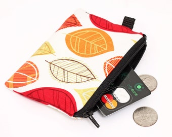 Coin purse, zipper coin bag, small padded zippered phone pouch, leaves womens zip wallet- red yellow fall leaves in ivory