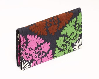 Business card case holder cover wallet, small women's wallet - turquoise, pink, brown, lime snowflake medallions