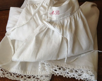 French Heirloom Bloomers, Antique 19th C French White Linen with Crochet Lace Bloomers Monogrammed