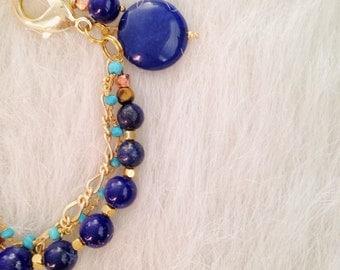 Lapis Lazuli and Turquoise Chain Bracelet