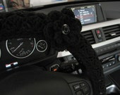 Crochet Steering Wheel Cover, Wheel Cozy with a Flower - black (CSWC 2GGG-F)