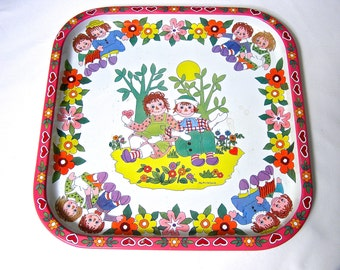 Raggedy Ann and Andy Tin Tray, England Daher Pritchard, Vintage Metal Serving Tray, I Love You, Collectible Toy, Child's Room Decor