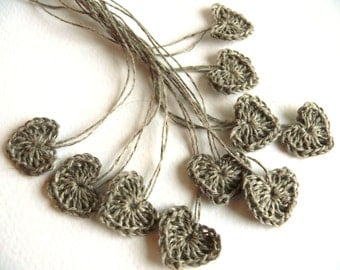 Small wedding favors, crochet tiny linen hearts, 15 mini hearts, wedding decorations, embellishments, applique, Birthday, scrapbooking, card