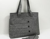 Large deluxe heather gray tote bag with decorative straps -- diaper bag | travel bag | laptop bag | school bag