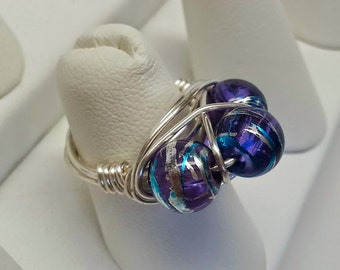 Handmade Silver Plated Wire Wrapped Purple and Blue Splatter Bead Ring - Holiday, Gift, Christmas