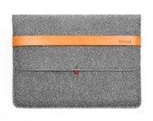 """13''Macbook Case Laptop Sleeve Laptop Case Wool Felt Macbook Sleeve with Italian Thick Leather Strap for Pro 13"""" Macbook Bag TopHome"""