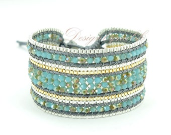 Blue crystal wrap cotton bracelet