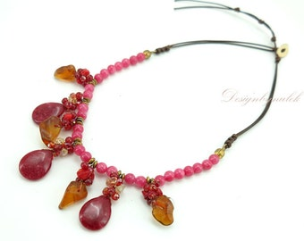 Red agate,carnelian on cotton thread necklace.