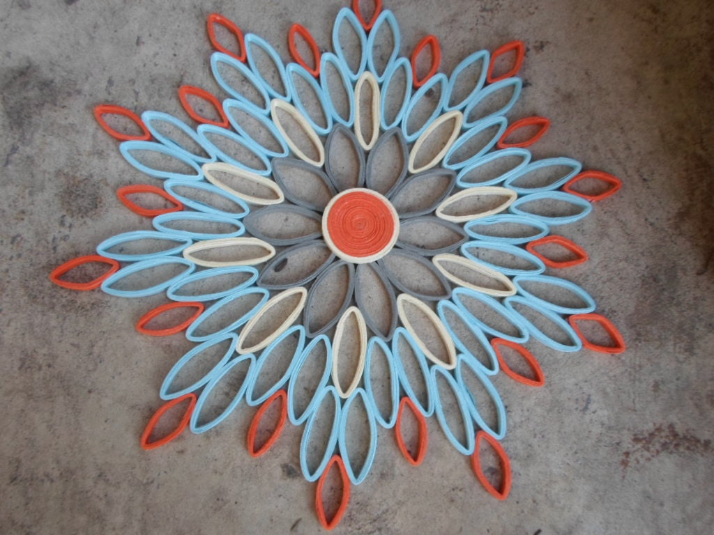 Blue orange wall hanging home decor paper flower wall art - Orange and blue decor ...