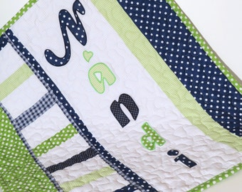 Baby Boy Blanket, Personalized Crib Quilt Blanket, Monogrammed Blanket, Navy Nursery, Navy Blue, Green and Gray