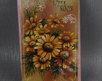 Unused Get Well Soon Old New Stock Card with Envelope Sealed Painted Orange Flower Design