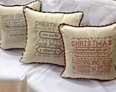 Ready-to-Ship Linen Christmas Lyrics Pillow Covers