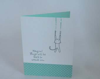 Blank Cat Notecard in Teal Blue -