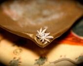 Vintage Small Sized Sterling Marijuana Pot Leaf Earrings