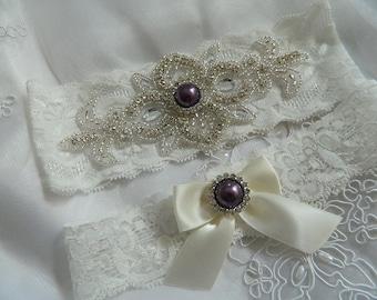 Bridal Garter Wedding Garter Rhinestone Garter Purple Rhinestone Garter Rhinestone Crystal Garter Set Crystal Garter