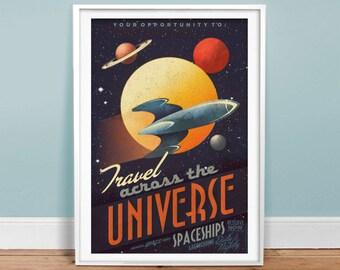 Travel Across The Universe Vintage Poster - Retro Art Print