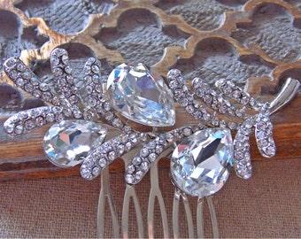 Rhinestone Floral Hair Comb in Silver.  Bridal, Bridesmaids, Wedding.