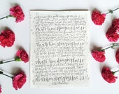Custom Hand Lettered Calligraphy Original Print with Watercolor