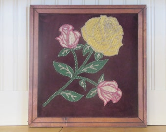 1950's String Art Rose, Rose, String Art, Picture, Rose, Floral, Flower, Maroon, Pink, Wall Hanging, Wall Decor, Display, Art, Nail Art