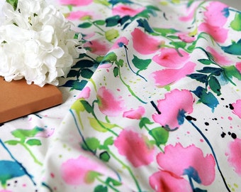 """Cotton Linen Watercolor Flowers - Pink - 59"""" Wide - By the Yard 73480"""