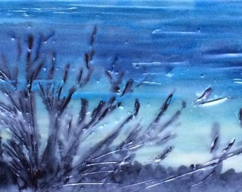 winter dawn 4.5x 12.5 - original encaustic painting peaceful, impressionist, landscape, dusk, twilight